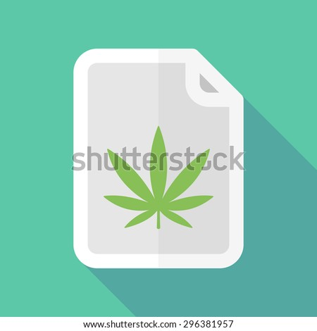 Illustration of a long shadow document icon with a marijuana leaf - stock vector
