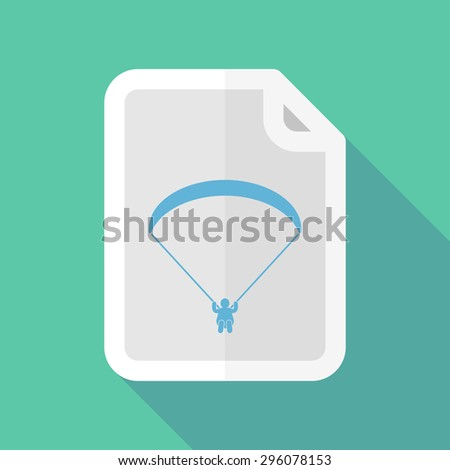 Illustration of a long shadow document icon with a paraglider - stock vector