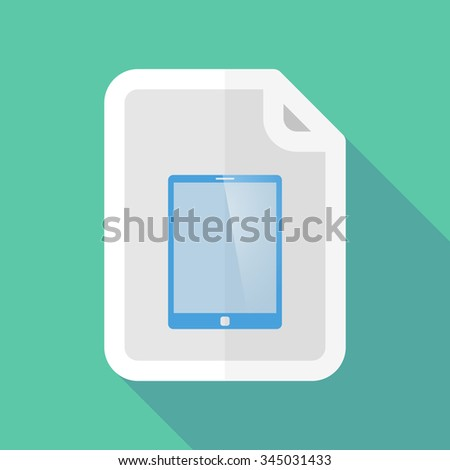 Illustration of a long shadow document vector icon with a tablet computer - stock vector