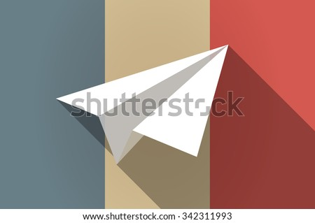 Illustration of a long shadow flag of France vector icon with a paper plane - stock vector