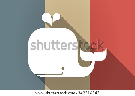 Illustration of a long shadow flag of France vector icon with a whale - stock vector