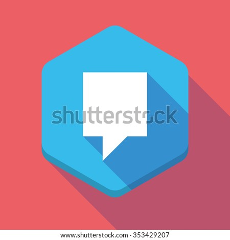 Illustration of a long shadow hexagon icon with a tooltip - stock vector