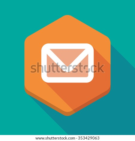 Illustration of a long shadow hexagon icon with an envelope - stock vector