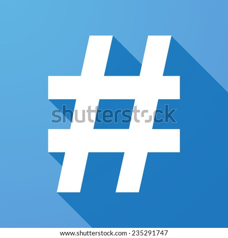 Illustration of a long shadow icon with a hash tag  - stock vector