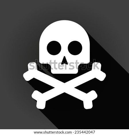 Illustration of a long shadow icon with a skull - stock vector