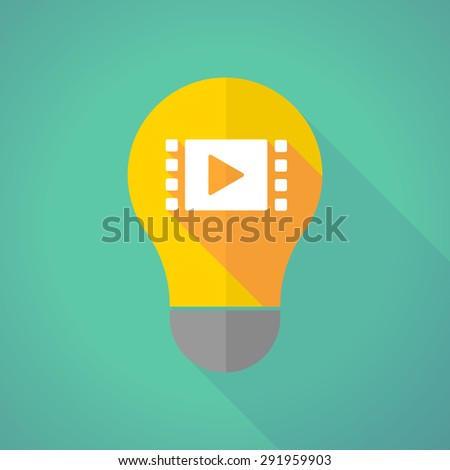 Illustration of a long shadow light bulb with a multimedia sign - stock vector