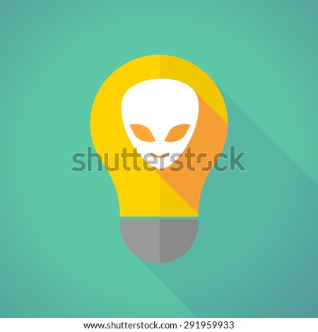 Illustration of a long shadow light bulb with an alien face - stock vector