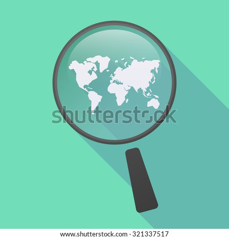 Illustration of a long shadow magnifier icon with a world map - stock vector