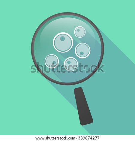 Illustration of a long shadow magnifier vector icon with oocytes - stock vector