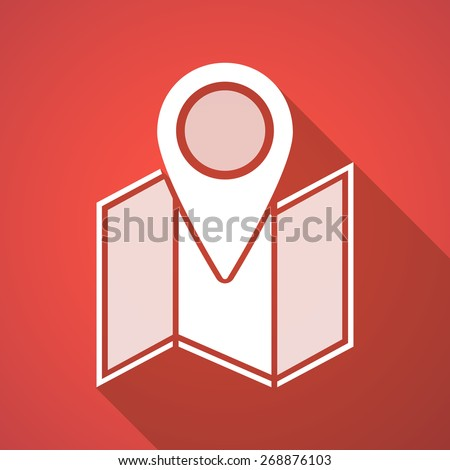 Illustration of a long shadow map icon - stock vector