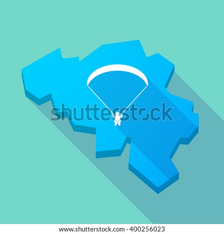 Illustration of a long shadow map of Belgium with a paraglider - stock vector