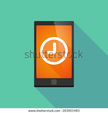 Illustration of a long shadow phone icon with a clock - stock vector