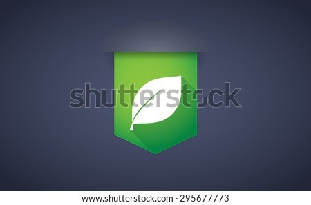 Illustration of a long shadow ribbon icon with a leaf - stock vector