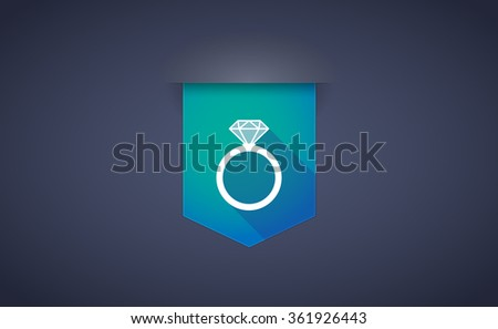 Illustration of a long shadow ribbon icon with an engagement ring - stock vector