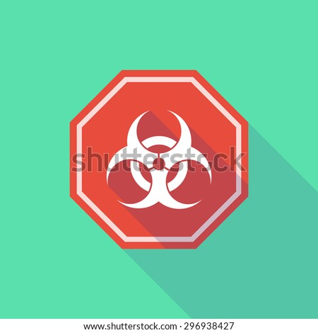 Illustration of a long shadow stop signal with a biohazard sign - stock vector