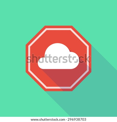 Illustration of a long shadow stop signal with a cloud - stock vector