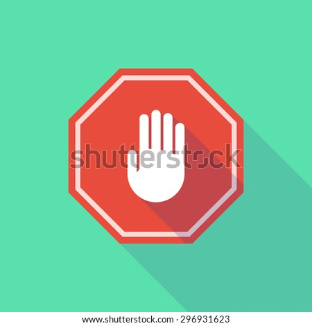 Illustration of a long shadow stop signal with a hand - stock vector