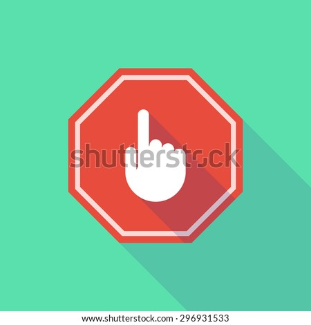 Illustration of a long shadow stop signal with a pointing hand - stock vector