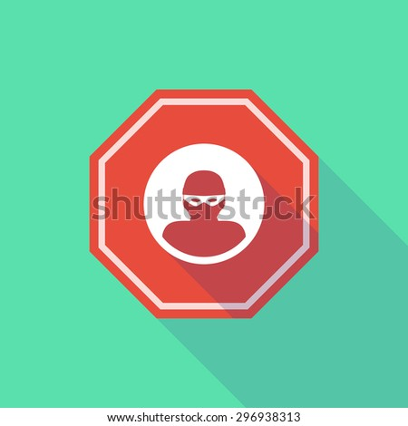 Illustration of a long shadow stop signal with a thief - stock vector