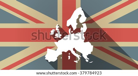 Illustration of a long shadow UK flag icon with  a map of Europe  - stock vector
