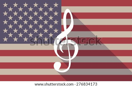 Illustration of a long shadow USA flag icon with a g clef - stock vector