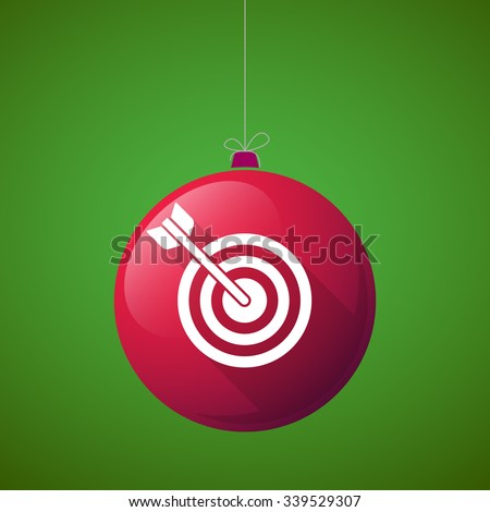Illustration of a long shadow vector christmas ball icon with a dart board - stock vector