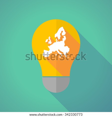 Illustration of a long shadow vector light bulb with  a map of Europe  - stock vector