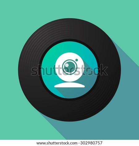 Illustration of a long shadow vinyl record with a web cam - stock vector