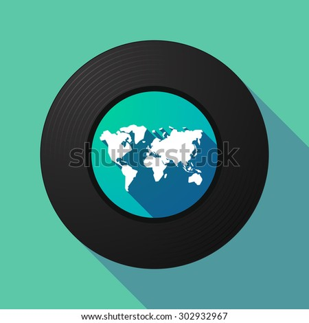 Illustration of a long shadow vinyl record with a world map - stock vector