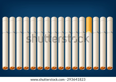 illustration of a lot of cigarettes with one different type - stock vector