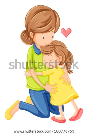 Illustration of a love of a mother and a daughter on a white background - stock vector