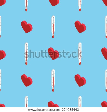 illustration of a love thermometer, valentine's day concept isometric flat style seamless pattern - stock vector