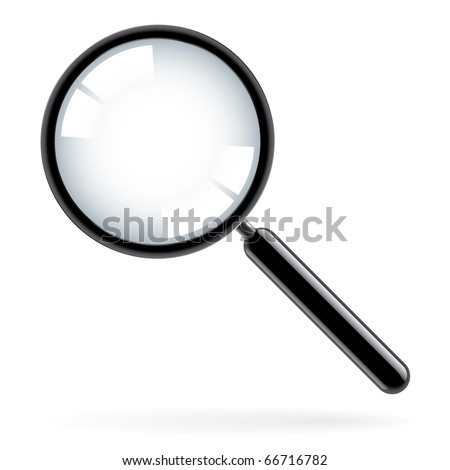 Illustration of a magnifying glass over white background - stock vector