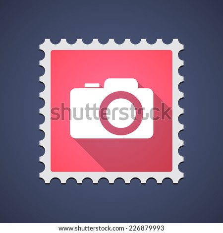 Illustration of a mail stamp icon with a photo camera - stock vector