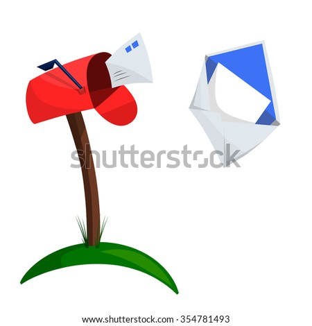 Illustration of a mailbox and flying letters for your design - stock vector