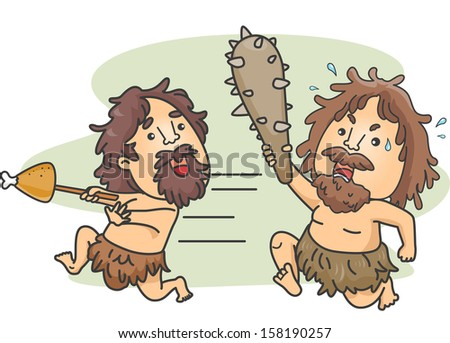 Illustration of a Male Caveman Carrying a Club Chasing Another Caveman Who Stole His Food - stock vector