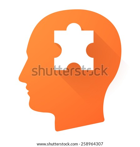 Illustration of a male head icon with a puzzle piece - stock vector