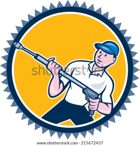 Illustration of a male pressure washing cleaner worker holding a water blaster viewed from front set inside rosette shape on isolated background done in cartoon style.  - stock vector