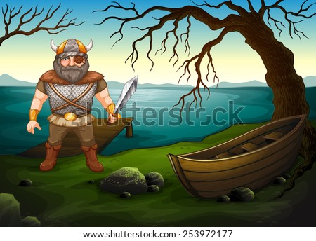Illustration of a male viking by the lake - stock vector