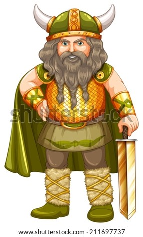 Illustration of a male warrior - stock vector