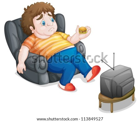 illustration of a man and television on a white background - stock vector