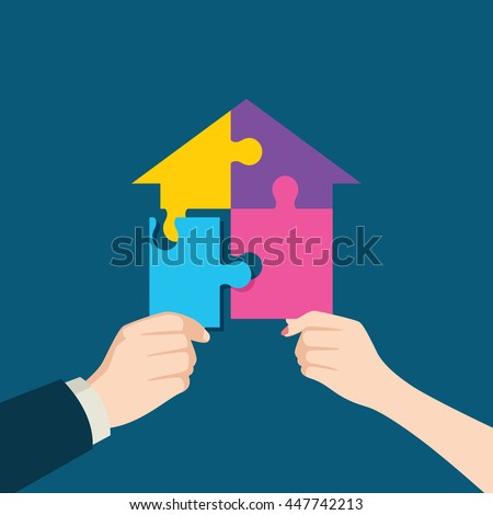 Illustration of a man and woman hand assembling jigsaw puzzle which forming a house - stock vector