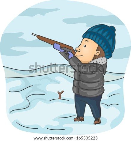 Illustration of a Man Dressed in Winter Clothes Taking Aim with His Rifle - stock vector