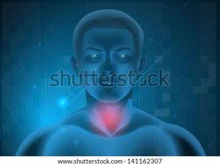 Illustration of a man experiencing pain at the throat - stock vector