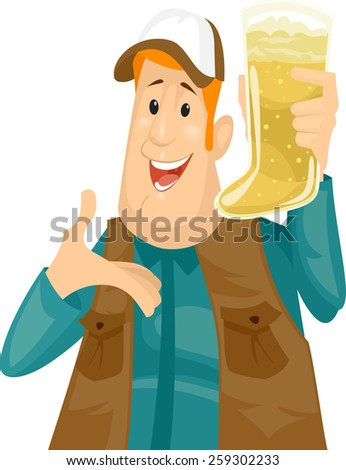 Illustration of a Man Holding a Beer Mug Shaped Like a Boot - stock vector