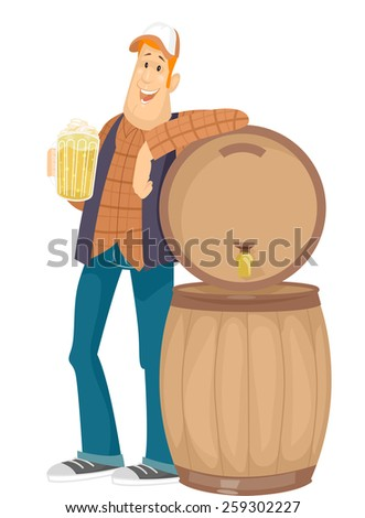 Illustration of a Man Holding a Pitcher of Beer Leaning Against a Beer Barrel - stock vector