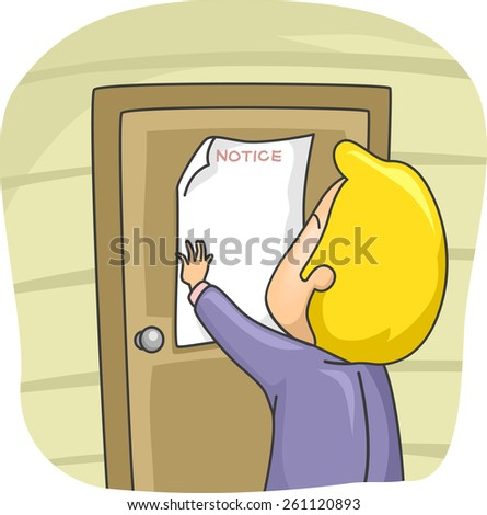 Illustration of a Man Posting a Notice on the Door of His House  - stock vector