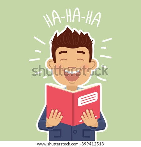 Illustration of a man reading a book and laughing - stock vector