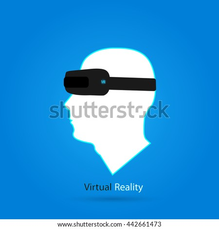 Illustration of a man's head and a virtual reality headset. - stock vector