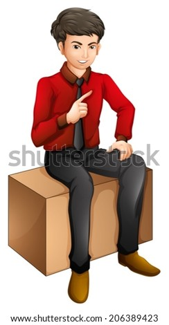 Illustration of a man sitting on a wooden bench on a white background - stock vector